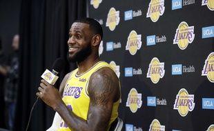 LeBron James lors de sa conférence de presse de rentrée avec les Los Angeles Lakers, le 24 septembre 2018.