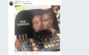 Un tweet signalant la mention «Teint ethnique» utilisé par Sephora a lancé la polémique sur l'utilisation de ce terme.