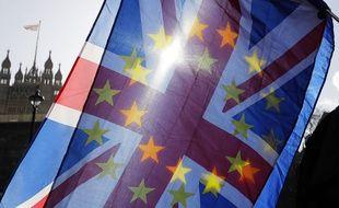 Un drapeau d'opposition au Brexit brandi devant le Parlement britannique, le 29 janvier 2019.