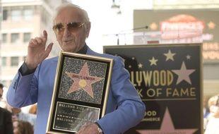 Charles Aznavour et son étoile le 24 août 2017 à Hollywood