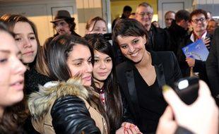 Najat Vallaud-Belkacem, lors d'un déplacement à Chateauroux le 16 janvier 2015.