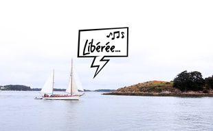Illustration d'un voilier dans le golfe du Morbihan.