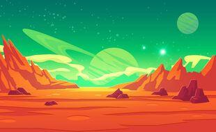 Vue d'artiste d'un ciel extraterrestre