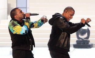Les rappeurs Kanye West et JAY-Z lors du Victoria's Secret Fashion Show en 2011 à New York