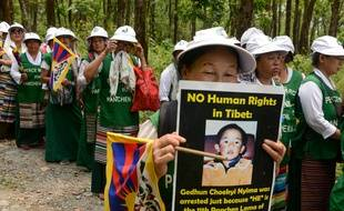 Manifestation d'exilées tibétaines à Sevok, dans le Nord-Est de l'Inde, le 25 avril 2019.