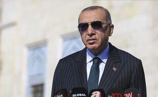 Recep Tayyip Erdogan lors d'une conférence de presse à Istanbul le 23 octobre 2020