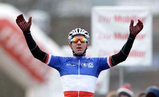 Francis Mourey lors de sa victoire à Dagmersellen (Suisse), en décembre 2014.