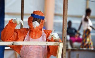 Illustration d'un médecin luttant contre le virus Ebola au Liberia.