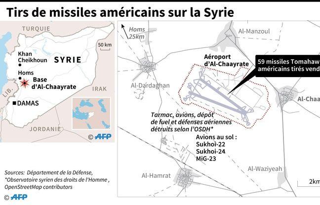Carte de l'AFP montrant la localisation des frappes américaines en Syrie jeudi 6 avril 2017.