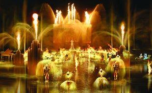 Image prévisionnelle du spectacle subaquatique Les Noces de feu au Puy du Fou.