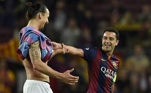 Xavi à la fin du match entre le Barça et le PSG le 21 avril 2015.