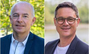 Michel Ménard (PS) et Laurent Turquois (DvD). L'un des deux devrait être le nouveau président du conseil départemental de Loire-Atlantique.