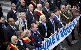 Marine Le Pen lors du traditionnel défilé du Front national le 1er mai 2013, à Paris.
