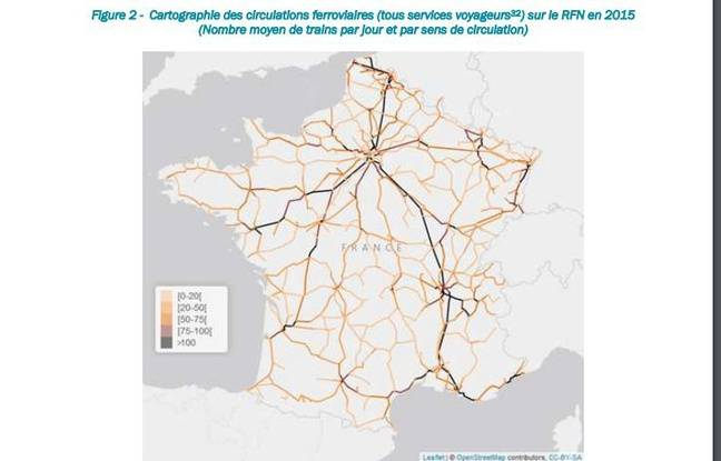 Carte de France avec le nombre moyens de trains circulant par jour sur le réseau. Plus la ligne est foncée, plus le réseau est fréquenté.