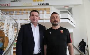 Aranud Pouille (à gauche); directeur général du RC Lens aux côtés de Franck Haise, l'entraîneur des Sang et Or