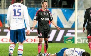 Joey Barton, coupable d'une vilaine faute sur Clément Grenier le 28 novembre 2012 face à Lyon au Vélodrome.