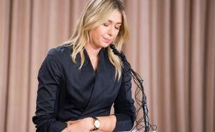 Maria Sharapova lors d'une conférence de presse, le 7 mars 2016 à Los Angeles