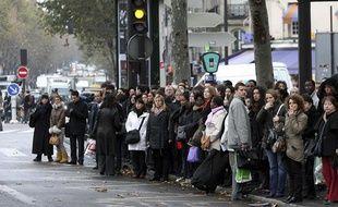 Grève des transports publics à Paris, en novembre 2007.