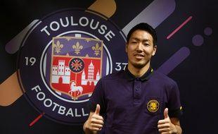 Gen Shoji, le nouveau défenseur du TFC, lors de sa présentation à la presse, le 6 janvier 2019.