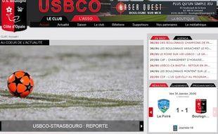 La home page de l'US Boulogne-sur-Mer annonce le report du match face au Racing.