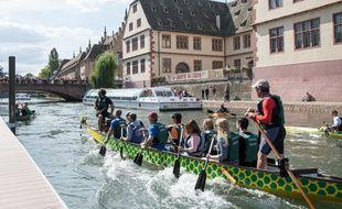 Bateau quai des Bateliers,. Strasbourg le 02 septembre 2018.