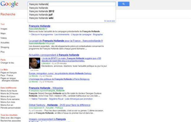 Un exemple de requête sur Google, où Google Suggest propose le mot «juif». Ce que dénoncent plusieurs associations antiracisme en France.