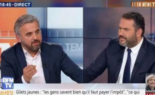 Alexis Corbière face à Bruce Toussaint sur le plateau de «Et en même temps», sur BFMTV, le 25 novembre 2018.