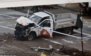 Le véhicule de l'auteur présumé de l'attaque de New York, qui a fait 8 morts et 11 blessés le 31 octobre 2017.