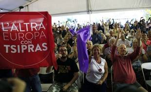 Des partisans de Syriza, le 20 septembre 2015, à Athènes.