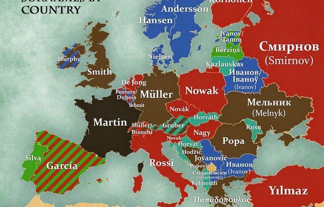 Carte d'Europe de la signification des noms de famille les plus communs.
