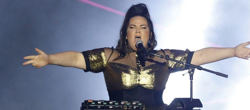 Netta Barzilai, représentante d'Israël à l'Eurovision 2018, lors du concert Israel Calling, à Tel-Aviv, le 10 avril 2018.