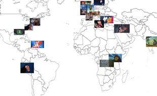 La cartographie de plusieurs films Disney