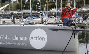 Greta Thunberg, photographiée le 13 août 2019 à Plymouth, veille de son départ sur un petit voilier de course pour rallier New York.