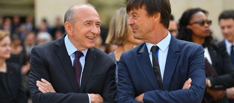 Gérard Collomb et Nicolas Hulot discutent de leur stratégie pour quitter le gouvernement.