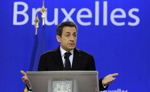 Nicolas Sarkozy au sommet européen de Bruxelles le 9 décembre 2011