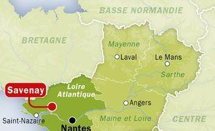 Carte de localisation de Savenay (Loire-Atlantique), où un jeune homme a tiré sur une gendarmerie avant de se suicider.
