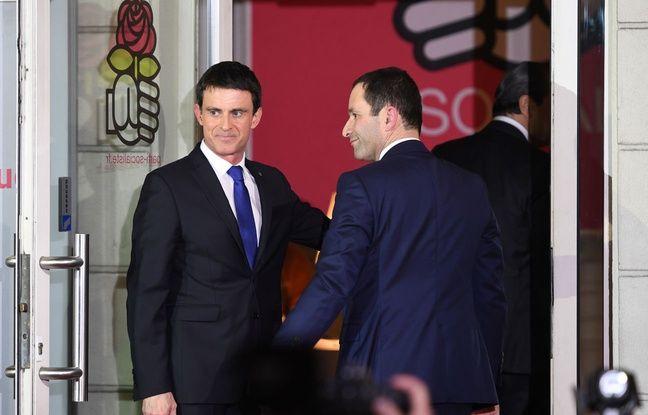 Benoît Hamon et Manuel Valls se sont retrouvés lors du second tour de la primaire à gauche au siège du Parti socialiste.