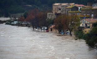 La rivière en crue La Berre à Portel-des-Corbières (Aude), le 30 novembre 2014