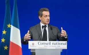 Nicolas Sarkozy, président du parti Les Republicains, le 13/02/2016 lors du Conseil national du parti.  Credit:WITT/SIPA/1602131844