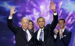 Barack Obama et Joe Biden ont accepté la nomination du parti démocrate à la présidentielle, le 6 septembre 2012.