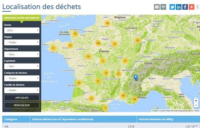 L'Andra recense la localisation des déchets radioactifs en France sur une carte consultable sur le web.