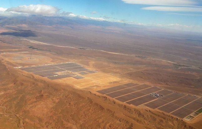 La centrale solaire de Noor vue du ciel.