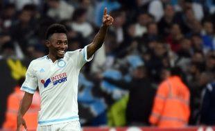 Georges-Kevin Nkoudou fête son but lors de la victoire de Marseille contre Braga le 5 novembre 2015.