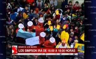 Des Boliviens manifestent pour plus de «Simpson» à la télévision.