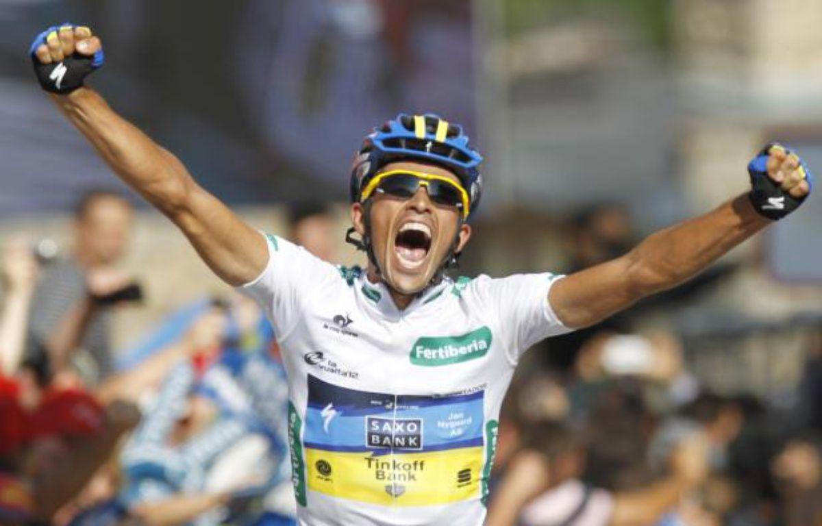 Le coureur espagnol de l'équipe Saxo Bank, Alberto Contador, lors de sa victoire sur la 17e étape de la Vuelta, le 5 septembre 2012. – REUTERS