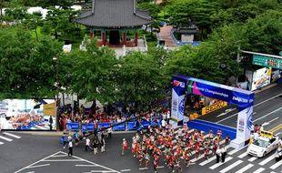 Les coureurs du marathon de Daegu, lors des Mondiaux en 2011.