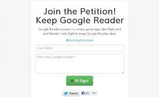 Une pétition pour sauver Google Reader
