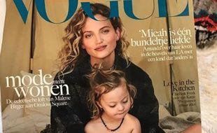 La couverture de «Vogue» avec Amanda Booth et son fils.