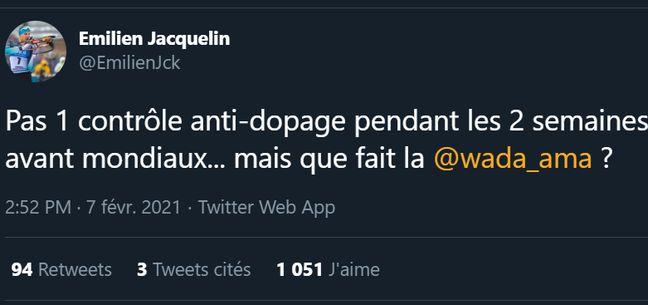 Le petit tacle d'Emilien Jacquelin sur Twitter