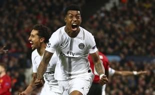 Presnel Kimpembe a ouvert la marque pour le PSG sur la pelouse de Manchester United en 8e de finale aller de la Ligue des champions, le 12 février 2019.